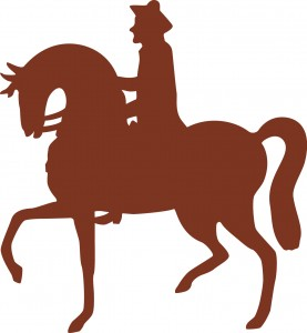 Horse and rider graphic from original King of Prussia Society logo
