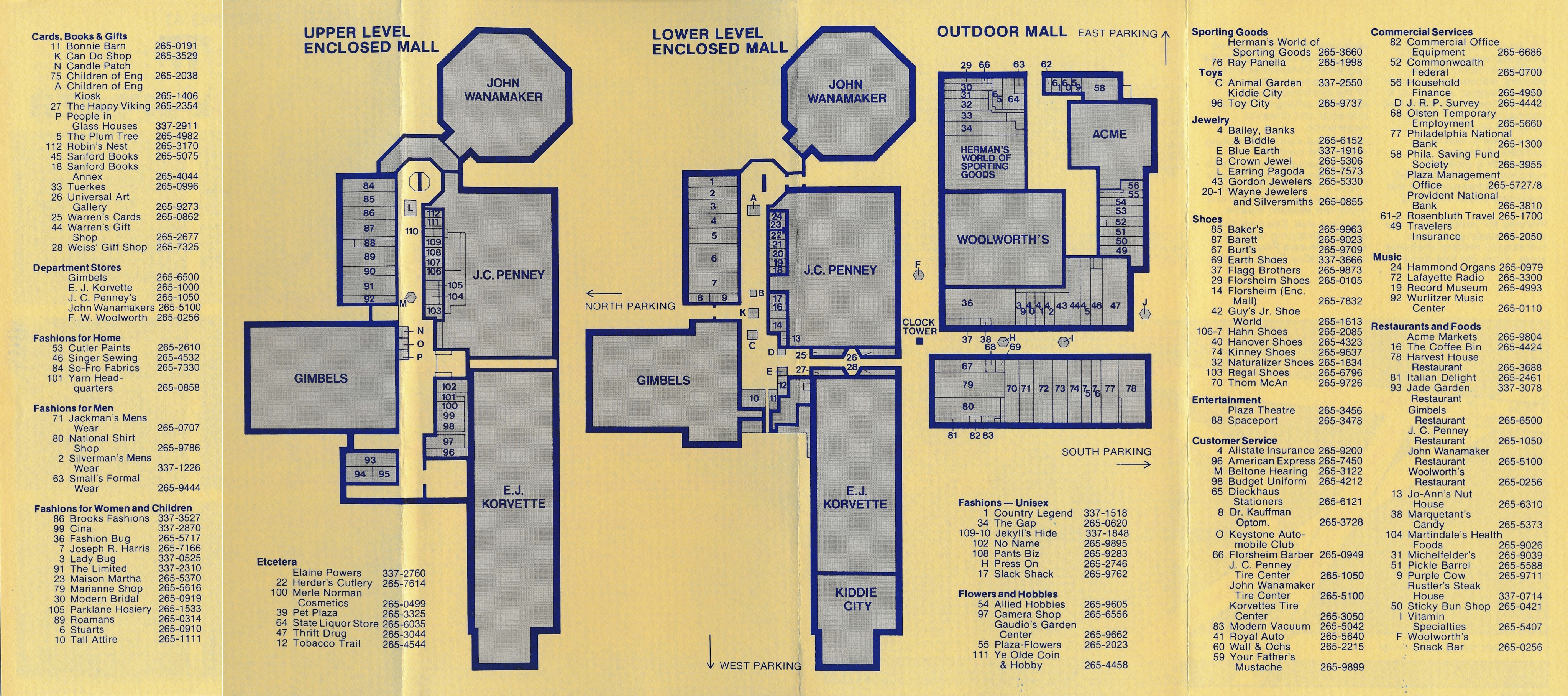 Map Of King Of Prussia Mall King of Prussia Historical Society | King of Prussia Plaza Brochure